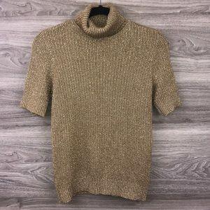 Liz Claiborne tan gold turtleneck knit sweater M